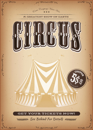 floral grunge: Illustration of a retro and vintage circus poster background, with big top, elegant titles, grunge texture and floral patterns