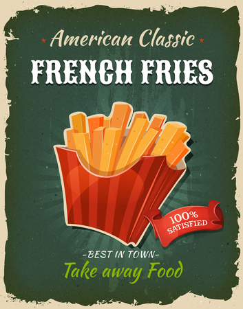 starchy food: Illustration of a design vintage and grunge textured poster, with appetizing french fries, for fast food snack and takeaway menu