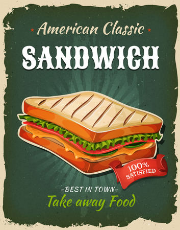 ham sandwich: Illustration of a design vintage and grunge textured poster, with sandwich icon, for fast food snack and takeaway menu