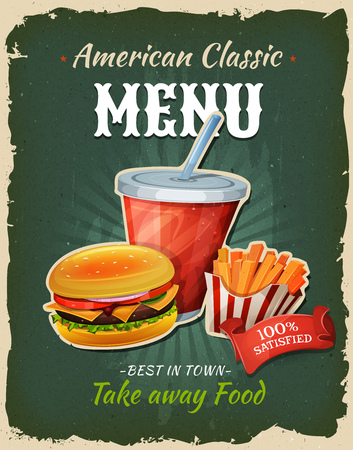 cooked meat: Illustration of a design vintage and grunge textured poster, with burger, drink and french fries formula, for fast food snack and takeaway menu