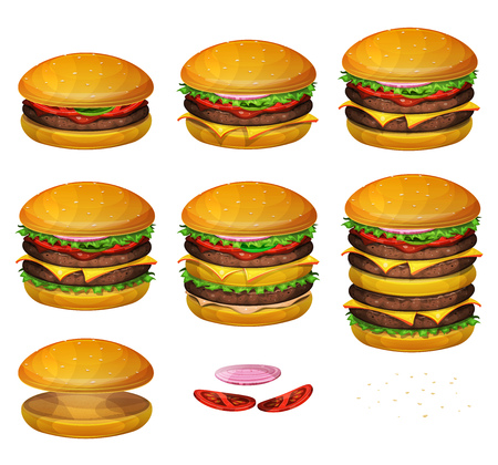 Illustration of a set of various sized burgers, with combinations from classic hamburger to super giant burger