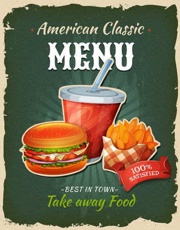 Illustration of a design vintage and grunge textured poster, with chicken burger, drink and french fries formula, for fast food snack and takeaway menu