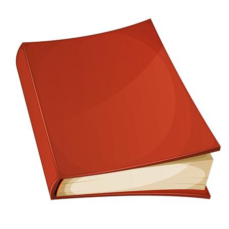 Illustratie van een cartoon leeg rood bedekt boek geïsoleerd op een witte achtergrond Stock Illustratie