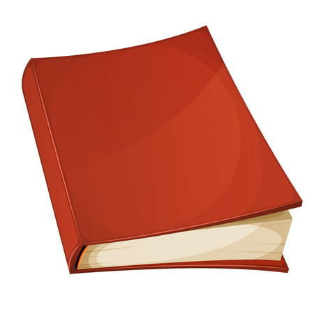 libro caricatura: Illustration of a cartoon blank red covered book isolated on white background