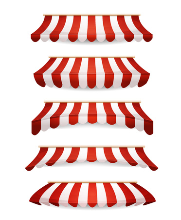 storefronts: Illustration of a set of striped awnings for shop and market store