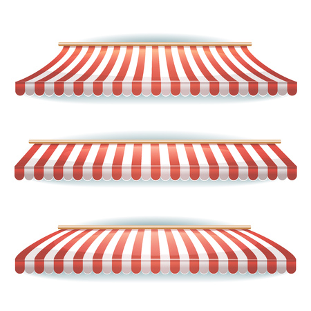 Illustration of a set of large striped awnings for shop and market store