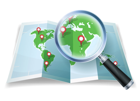 details: Illustration of a cartoon world map, with magnifying glass scaling details