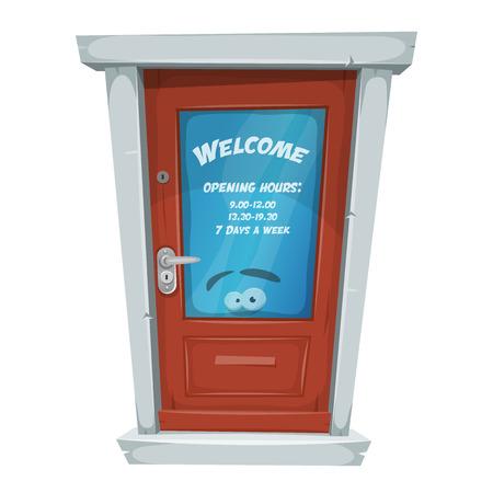 Illustratie van een gesloten deur van de beeldverhaalingang, met welkom bericht en openingsuren op venster. Stock Illustratie