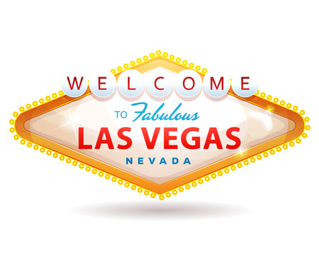 Illustration of a cartoon classic welcome to fabulous las vegas message Иллюстрация