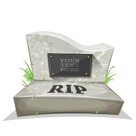 Illustratie van een cartoon marmer grafsteen, met rust in vrede inscriptie en plaats voor uw tekst Vector Illustratie
