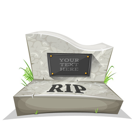 Illustration of a cartoon marble tombstone, with rest in peace inscription and place for your text Ilustração Vetorial