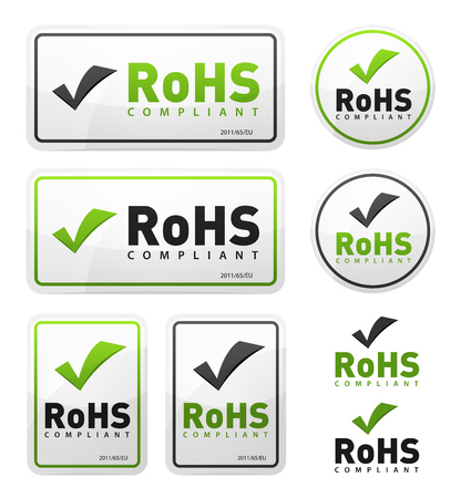 Illustration of a set of rohs compliant certificate signs, illustrating european union directive on hazardous substances