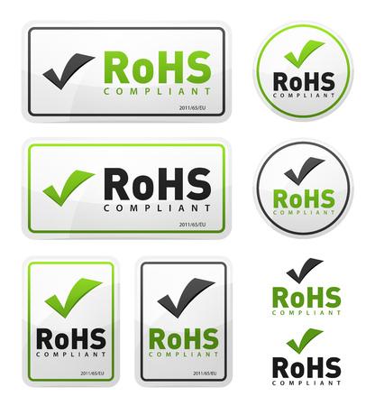 Illustration of a set of rohs compliant certificate signs, illustrating european union directive on hazardous substances