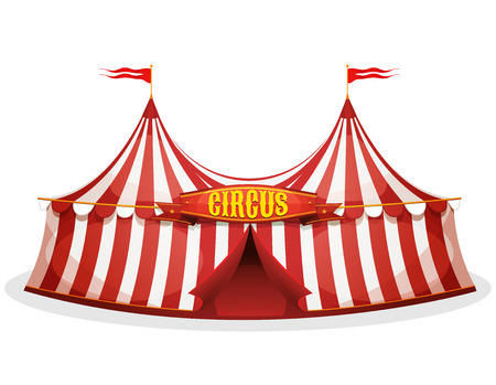 Illustration of a cartoon big top circus tent, with red and white stripes, for funfair and carnival holidays