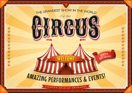 cabaret stage: Illustration of a retro vintage circus horizontal background, with marquee, big top, elegant titles and grunge texture