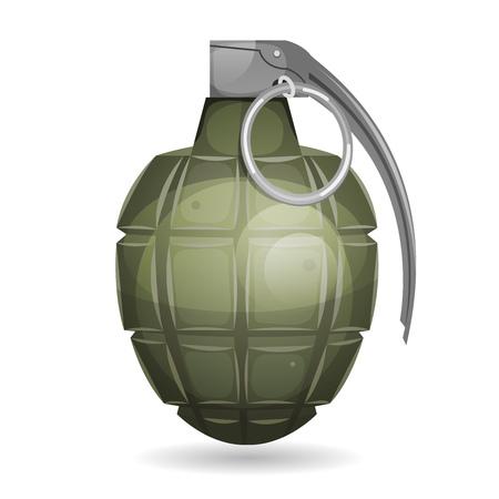 Illustratie van een militaire bom, met metalen pen, geïsoleerd op een witte achtergrond