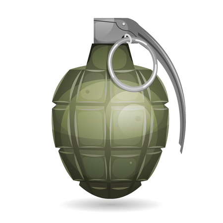 Illustration of a military bomb, with metal pin, isolated on white background Illustration