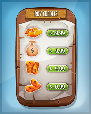 board: Illustration of a funny cartoon wood panel, with buying credits levels and price options, coins, dollar bag and gold ingot, for game ui app on tablet pc