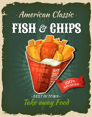 Illustration of a design vintage and grunge textured poster, with english fish and chips cornet, for fast food snack and takeaway menu Ilustração