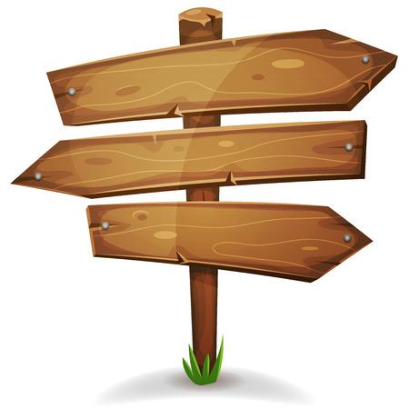 Illustration eines Cartoon Comic Holz Stange mit Richtung Pfeile Zeichen