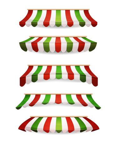 Illustration of a set of striped awnings with italy flags colors, for shop and market store