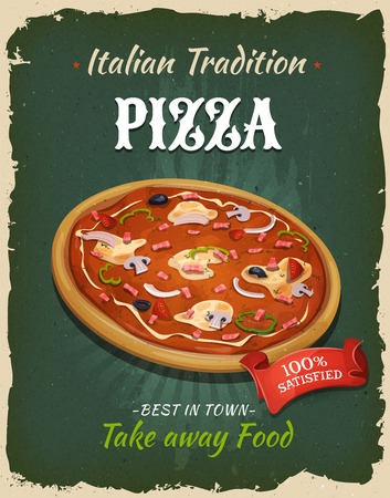 texture: Illustration of a design vintage and grunge textured poster, with italian pizza specialty, for fast food snack and takeaway menu Illustration