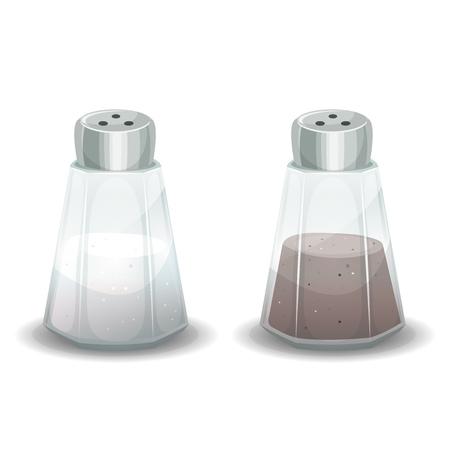 ガラス シェーカー、調味食品の中 2 つの塩と黒胡椒パウダーのセットのイラスト  イラスト・ベクター素材