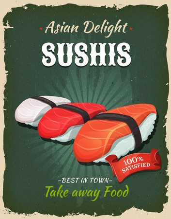 texture: Illustration of a design vintage and grunge textured poster, with japanese sushis specialty, for fast food snack and takeaway menu
