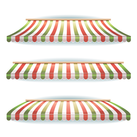 storefronts: Illustration of a set of large striped awnings with italian flag colors, for pizzeria restaurant, shop and market store