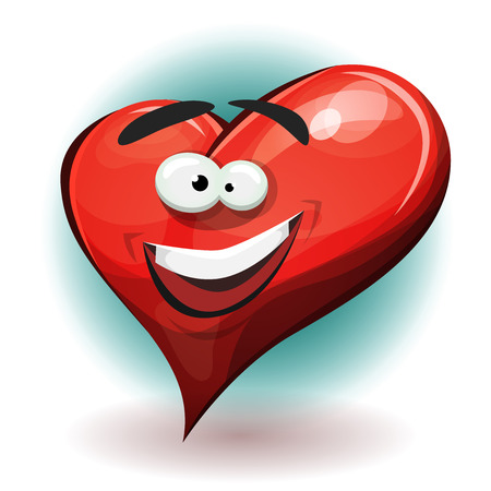 Illustration of a happy human heart character, happy and smiling