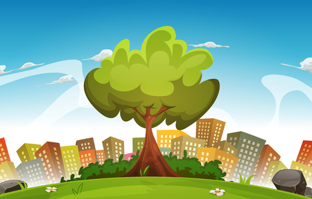 Illustration of a cartoon spring or summer season urban landscape, with tree, green field and skyscrapers background