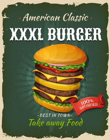 junk: Illustration of a design vintage and grunge textured poster, with big giant burger icon, for fast food snack and takeaway menu