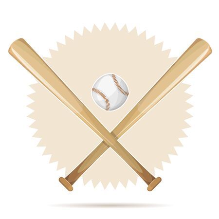 Illustration of an american baseball sport banner, with wooden bats and leather ball Illustration