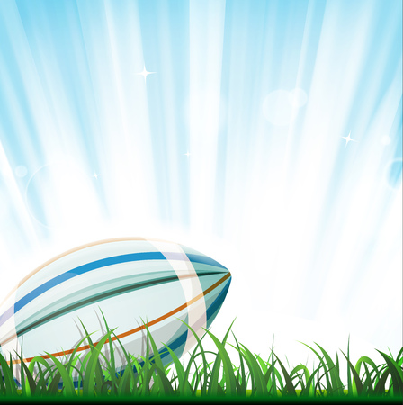 competitions: Illustration of a rugby ball inside grass, with light and shining sky