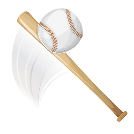 competitions: Illustration of an american baseball bat, hitting a ball