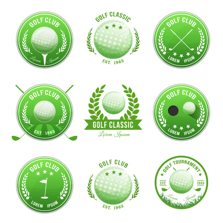 Illustration of a set of golf banner with imagery elements of this sport, ball, flag and putting green Çizim