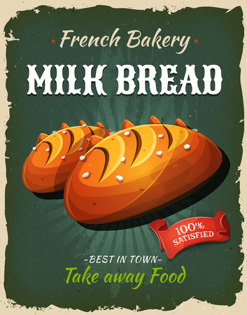 ribbon: Illustration of a design vintage and grunge textured poster, with milk bread bread specialty, for bakehouse announcement Illustration