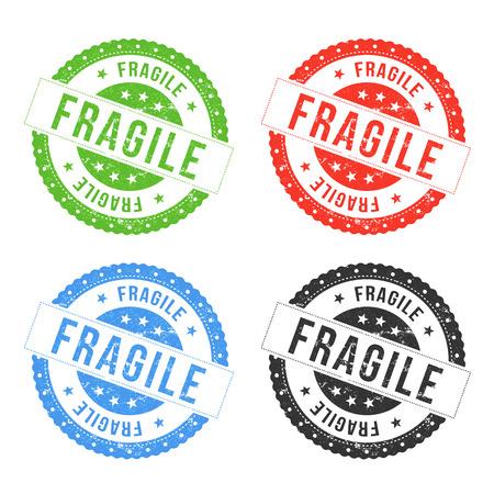 security symbol: Illustration of a set of red, green, blue and black fragile seals and badges