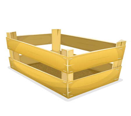 industry: Illustration of a cartoon wooden crate, for carrying fruits and vegetables inside grocery