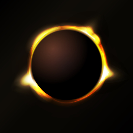 Illustration of a solar eclipse background, with rays of light emerging from behind Illustration
