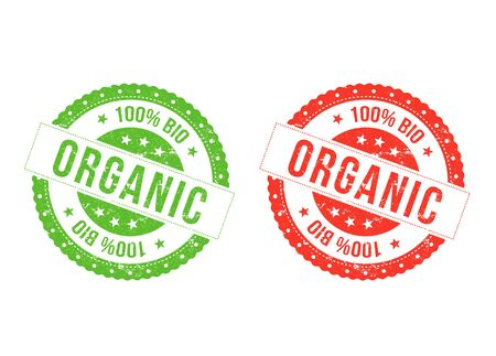 Illustration of a set of red and green organic seals, for bio food business, with grunge texture