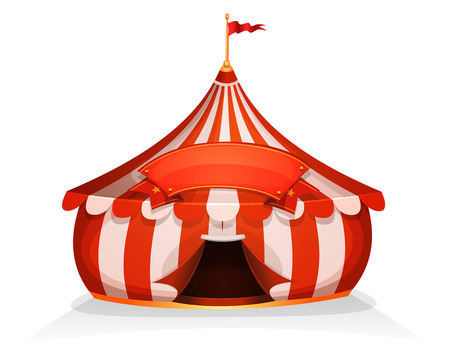 Illustration of cartoon white and red big top circus tent, with marquee or banner