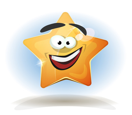 Illustration of a funny cartoon star character icon, for game user interface score display