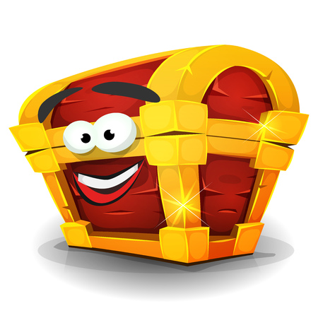 Illustration of a cartoon treasure chest character, happy and smiling, golden and wooden Illustration