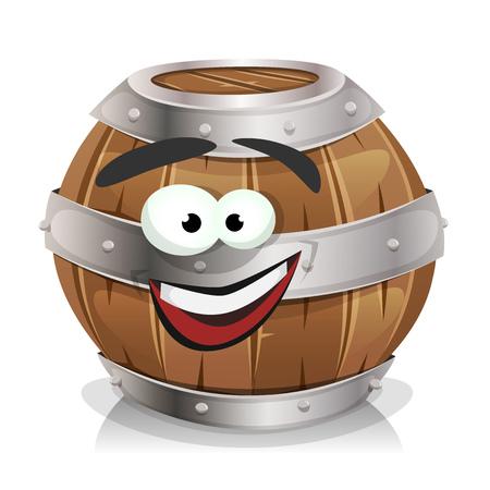 Illustration of a cartoon wooden wine barrel.