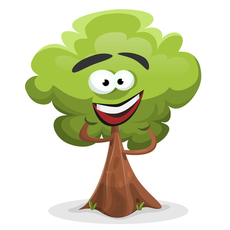 Illustration of a cartoon spring or summer tree character, happy and smiling Illustration
