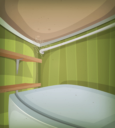 Illustration of a cartoon home kitchen ceiling, with top of fridge and spider web Illustration
