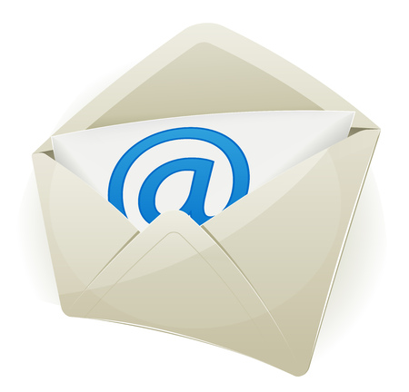 technology: Illustration of an email icon envelope with arobase symbol over white background, with glossy effect Illustration