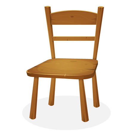 Illustration of a cartoon simple classic wooden domestic seat, for house and kitchen interior Illustration