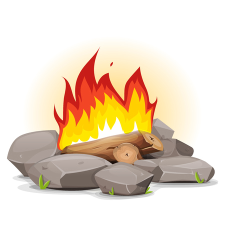Illustration of a cartoon campfire with burning flames and stones around